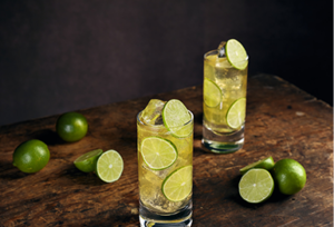 Mixed   Cabal rum in glass with limes