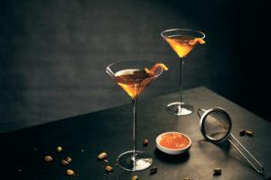 Breakfast Martini   Martini glasses with orange decoration